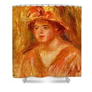 Bust Of A Young Girl In A Straw Hat 1917 Shower Curtain