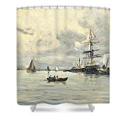 Bustling Activity In A Normandy Port Shower Curtain