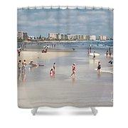Busy Beach Day Shower Curtain