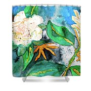 Busy Gardenias Shower Curtain