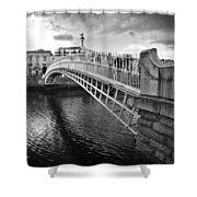 Busy Ha'penny Bridge 2 Bw Shower Curtain
