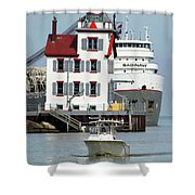 Busy Harbor Of Lorain Shower Curtain