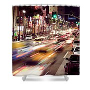 Busy Hollywood Boulevard At Night Shower Curtain by Bryan Mullennix