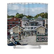 Busy On The Pier 1 Shower Curtain