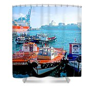 Busy Port Of Valparaiso-chile Shower Curtain