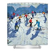 Busy Ski Slope Shower Curtain by Andrew Macara