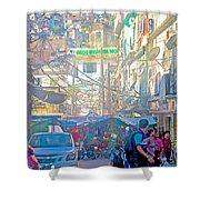 Busy Street In Central Marketplace In Rocinha Favela In Rio De Janeiro-brazil  Shower Curtain