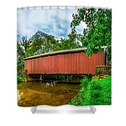 Butchers Mill Covered Bridge Shower Curtain