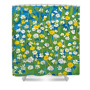 Buttercups And Daisies Shower Curtain