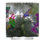 Butterflies And Dew Shower Curtain