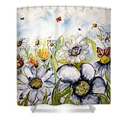 Butterflies And Flowers Shower Curtain