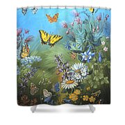 Butterflies And Wildflowers Of Wyoming Shower Curtain