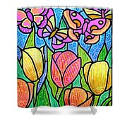 Butterflies In The Tulip Garden Shower Curtain