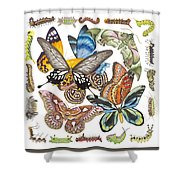 Butterflies Moths Caterpillars Shower Curtain