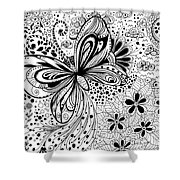 Butterfly And Flowers, Doodles Shower Curtain