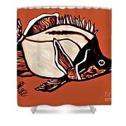 Butterfly Fish In Watercolor Shower Curtain