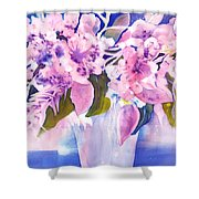 Pink Butterfly Flowers Shower Curtain
