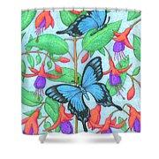 Butterfly Idyll-fuchsias Shower Curtain