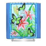 Butterfly Idyll- Lilies Shower Curtain