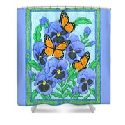 Butterfly Idyll-pansies Shower Curtain