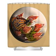 Butterfly In A Globe Shower Curtain