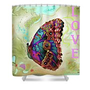 Butterfly In Beige And Teal Shower Curtain