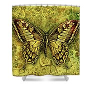 Butterfly In Golds-amber Collection Shower Curtain