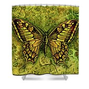 Butterfly In Greens-amber Collection  Shower Curtain