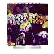 Butterfly Insect Black White  Shower Curtain
