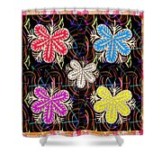 Butterfly Look Graphic Flowers Colorful  Art For A Cheerful Smiling Mood Great For Kids Room Party R Shower Curtain