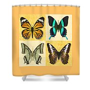 Four Butterfly Montage Shower Curtain