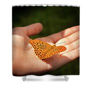 Butterfly On A Childs Hand Shower Curtain
