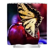 Butterfly On Apple Shower Curtain