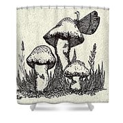 Butterfly On Mushrooms Shower Curtain