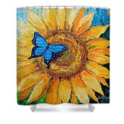 Butterfly On Sunflower Shower Curtain