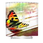Butterfly On The Window Frame Watercolor Shower Curtain