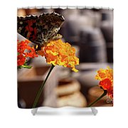 Butterfly On Yellow Flower Shower Curtain