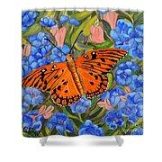 Butterfly Orange Shower Curtain