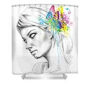 Butterfly Queen Shower Curtain by Olga Shvartsur