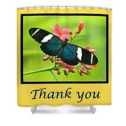 Butterfly Thank You Card Shower Curtain