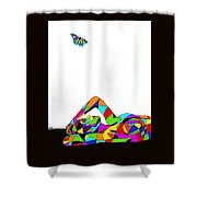 Butterfly With A Nude Shower Curtain