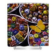 Butterfly With Bowls Shower Curtain
