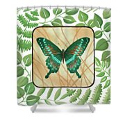 Butterfly With Leaves 2 Shower Curtain