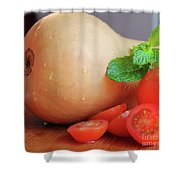 Butternut Mint And Tomatoes Shower Curtain