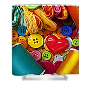 Buttons And Thread Shower Curtain