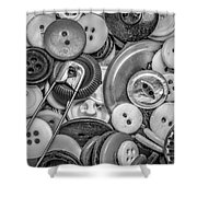 Buttons In Black And White Shower Curtain