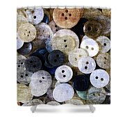 Buttons In Grunge Style Shower Curtain
