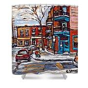 Buy Original Wilensky Montreal Paintings For Sale Achetez Petits Formats Scenes De Rue Street Scenes Shower Curtain