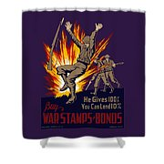 Buy War Stamps And Bonds Shower Curtain