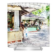 Buying Items In These Shops On The Street Shower Curtain